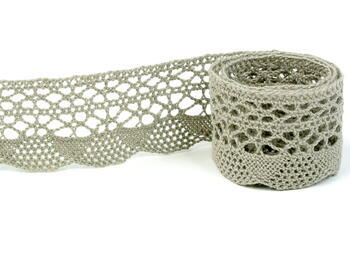 Cotton bobbin lace 75077, width 32 mm, dark linen gray - 3