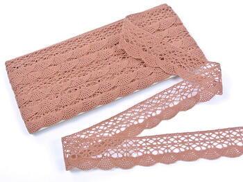Cotton bobbin lace 75077, width 32 mm, terracotta - 3