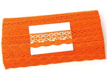 Cotton bobbin lace 75077, width 32 mm, rich orange - 3