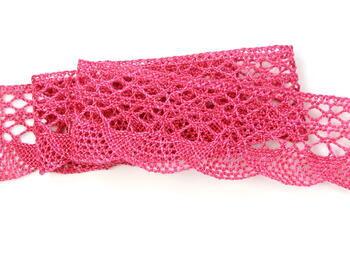 Cotton bobbin lace 75077, width 32 mm, fuchsia highlights - 3