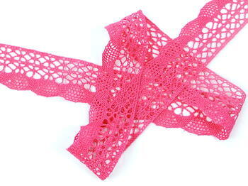 Cotton bobbin lace 75077, width 32 mm, fuchsia - 3