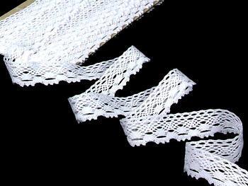 Cotton bobbin lace 75084, width 23 mm, white - 3