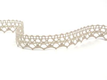 Cotton bobbin lace 75087, width 19 mm, light linen gray - 3