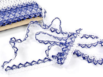Bobbin lace No. 75087 white/blue | 30 m - 3