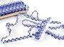 Paličkovaná krajka vzor 75087 bílá/modrá | 30 m - 3/5