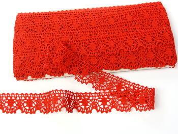 Paličkovaná krajka 75088 bavlněná, šířka 27 mm, červená - 3