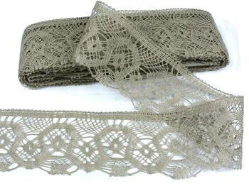 Linen bobbin lace 75096, width 68 mm, linen gray natural - 3