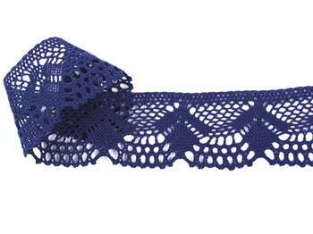 Paličkovaná krajka 75098 bavlněná, šířka45 mm, tmavě modrá - 3