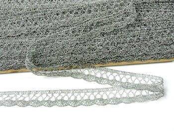 Paličkovaná krajka 75099 metalická, šířka18 mm, Lurex stříbrný - 3