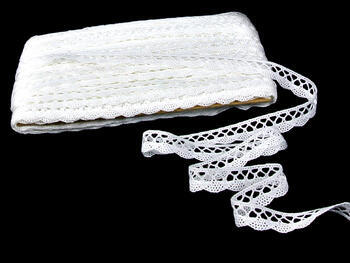 Cotton bobbin lace 75099, width 18 mm, white - 3