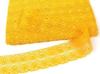 Paličkovaná krajka 75110 bavlněná, šířka53 mm, tmavě žlutá - 3