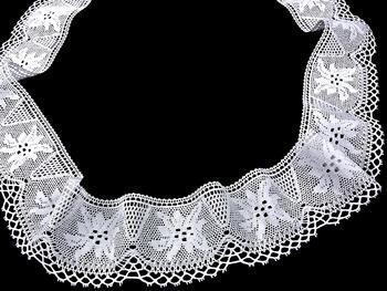 Cotton bobbin lace 75112, width 80 mm, white - 3