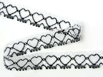 Cotton bobbin lace 75133, width 19 mm, white merc./black - 3
