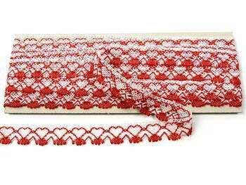 Paličkovaná krajka 75133 bavlněná, šířka19 mm, bílá/sv.červená - 3