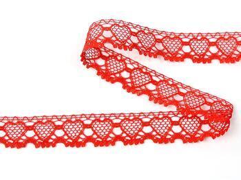 Paličkovaná krajka 75133 bavlněná, šířka19 mm, červená - 3
