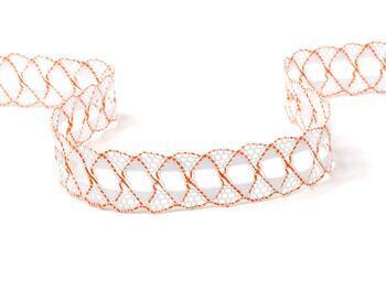 Paličkovaná krajka 75169 bavlněná, šířka 20 mm, bílá/sytě oranžová - 3