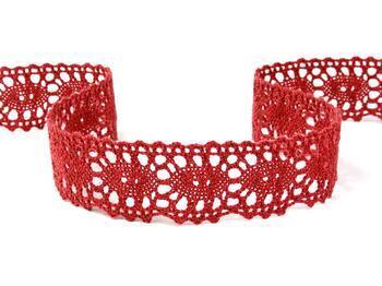 Cotton bobbin lace 75187, width 32 mm, wine - 3