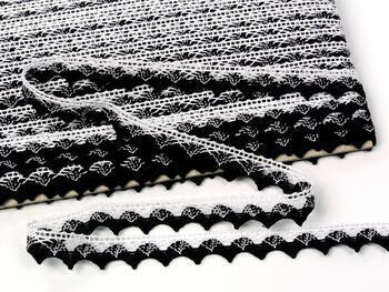 Paličkovaná krajka 75191 bavlněná, šířka15mm, bílá/černá - 3