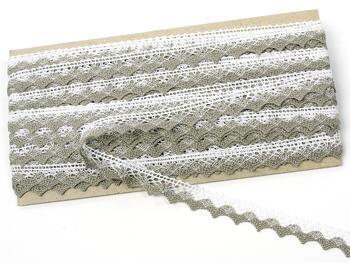 Paličkovaná krajka 75191 bavlněná, šířka15mm, bílá/tm.lněná - 3