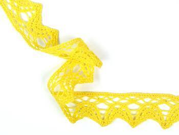 Cotton bobbin lace 75206, width 33 mm, yellow - 3