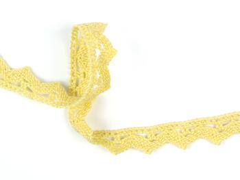 Paličkovaná krajka 75207 bavlněná, šířka 14 mm, světle žlutá - 3