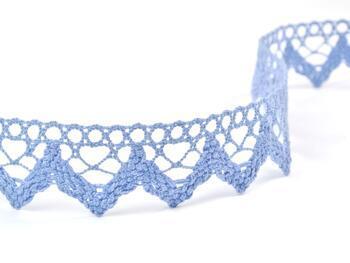Paličkovaná krajka 75220 bavlněná, šířka 33 mm, blank.modrá - 3