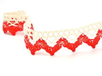 Paličkovaná krajka vzor 75220 režná/červená | 30 m - 3