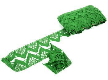 Paličkovaná krajka 75221 bavlněná, šířka 65 mm, trávová zelená - 3