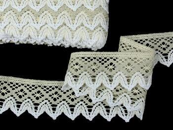 Cotton bobbin lace 75222, width 46 mm, ecru/light linen gray/white - 3