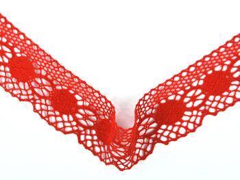 Paličkovaná krajka 75223 bavlněná, šířka 50 mm, červená - 3