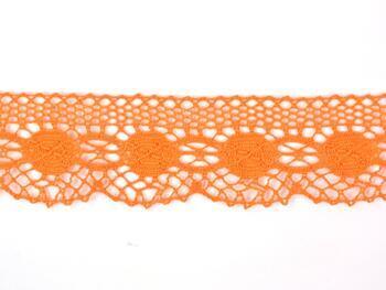 Paličkovaná krajka 75223 bavlněná, šířka 50 mm, sytě oranžová - 3