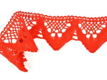 Cotton bobbin lace 75221, width 65 mm, red - 3