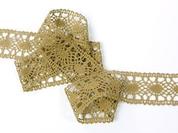 Cotton bobbin lace insert 75235, width43mm, chocolate brown - 3