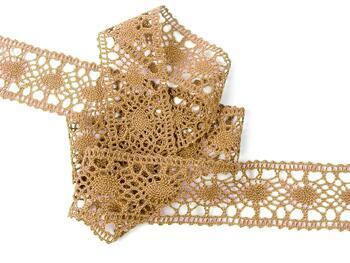 Cotton bobbin lace insert 75235, width43mm, dark beige - 3