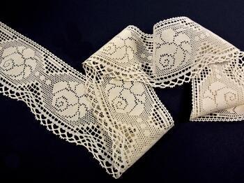 Cotton bobbin lace 75236, width104mm, ecru - 3