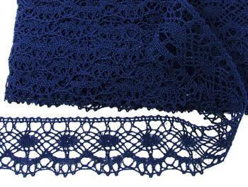 Cotton bobbin lace 75238, width51mm, dark blue - 3