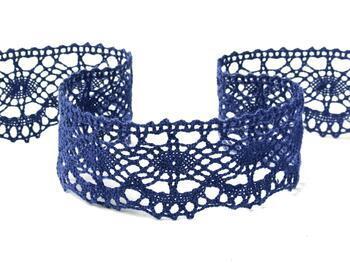 Cotton bobbin lace 75238, width51mm, blue - 3