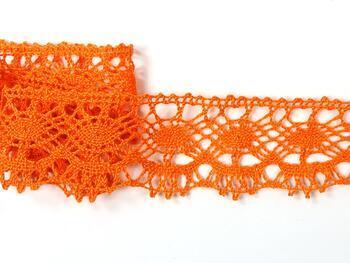 Paličkovaná krajka 75238 bavlněná, šířka51 mm, sytě oranžová - 3