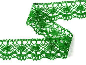 Cotton bobbin lace 75238, width 51 mm, grass green - 3