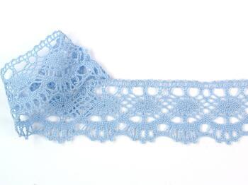 Paličkovaná krajka 75238 bavlněná, šířka51 mm, sv.modrá - 3