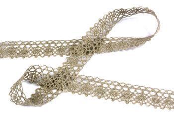 Linen bobbin lace 75239, width 19 mm, 100% linen natural - 3