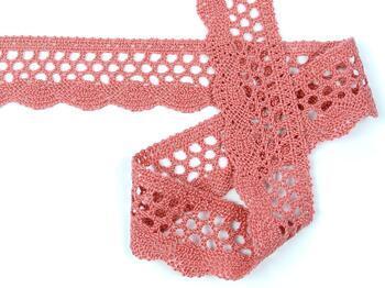 Cotton bobbin lace 75231, width 40 mm, rose - 3