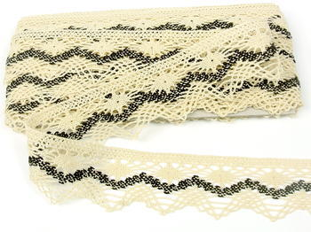 Bobbin lace No. 75251 creamy/dark brown | 30 m - 3