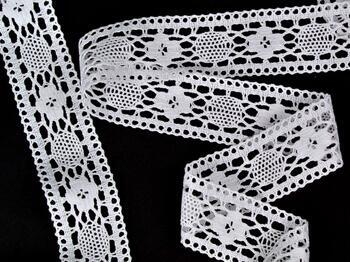Cotton bobbin lace insert 75254, width48mm, white - 3