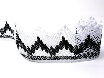 Bobbin lace No. 75256 white/black | 30 m - 3