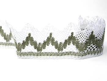 Cotton bobbin lace 75256, width 80 mm, white/dark linen gray - 3