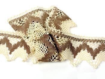 Cotton bobbin lace 75256, width80mm, ecru/dark beige - 3