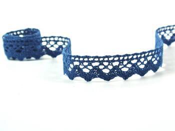 Paličkovaná krajka 75259 bavlněná, šířka17 mm, mořská modrá - 3