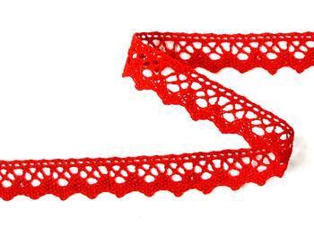 Paličkovaná krajka 75259 bavlněná, šířka17 mm, červená - 3