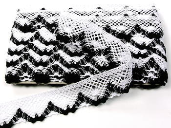 Paličkovaná krajka vzor 75261 bílá/černá | 30 m - 3